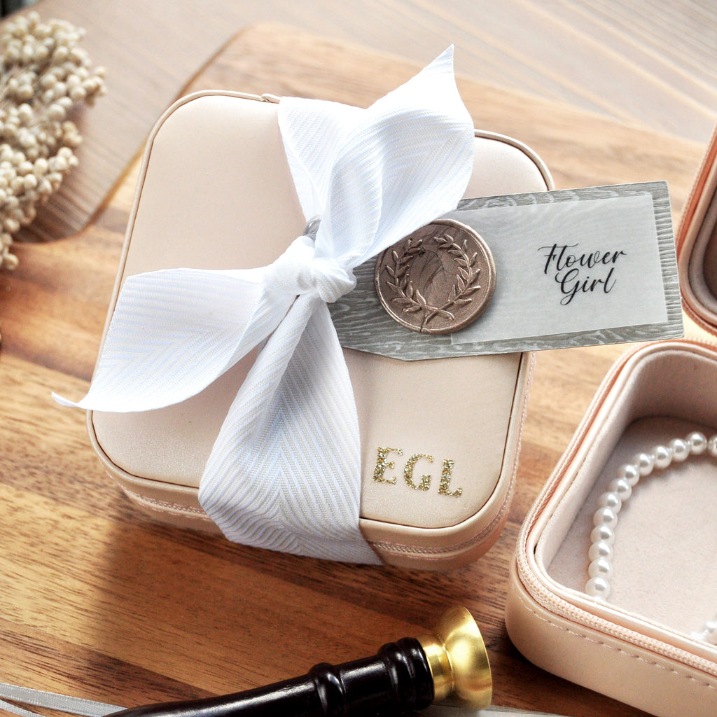 Flower Girl Gift. Monogram Travel Jewelry Case. (Qty. 1) Flower Girl Jewelry Box. B10JB.