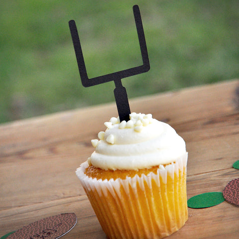Football Birthday Party.  Ships in 1-3 Business Days.  Sports Party Decor.  Cupcake Toppers.  Football Goalpost Picks.  Sets of 12.