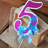 Frozen Birthday Party Decoration.  Ships in 1-3 Business Days.  Number Cake Topper.