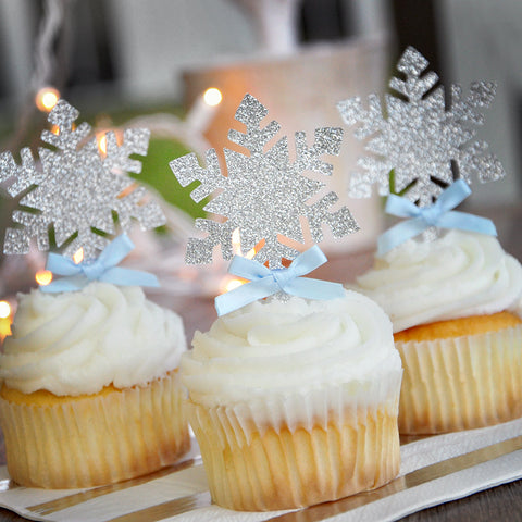 Snowflake Cupcake Toppers 12CT. Ships in 1-3 Business Days.  Winter Wonderland Party Decorations.