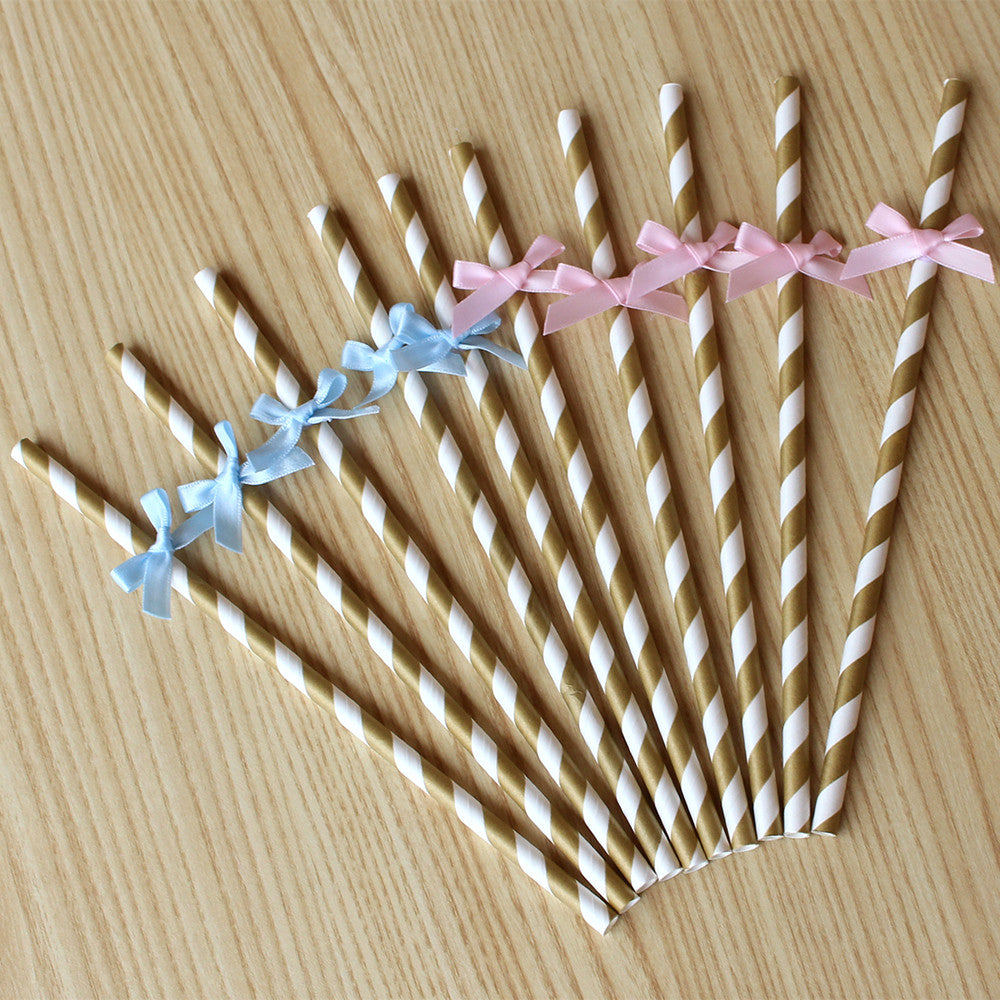 Gender Reveal Straw 10CT.  Ships in 1-3 Business Days.  Pink or Blue Paper Party Straws.