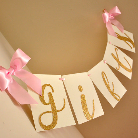 Gifts Banner.  Ships in 1-3 Business Days.  Pink and Gold Birthday Decor.