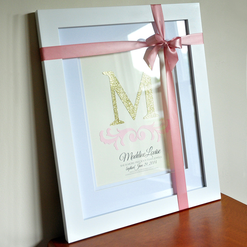Christening Gifts.  Ships in 1-3 Business Days.  Personalized Baptism Wall Art & Frame.