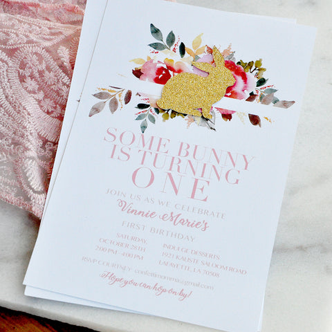 Some Bunny is One Invitations and Envelopes. Spring 1st Birthday Invites.