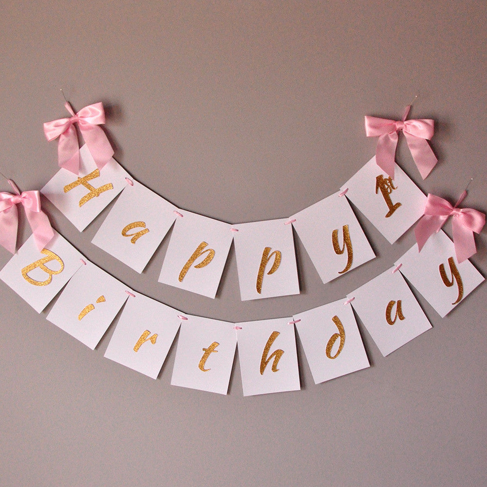 1st Birthday Banner Handcrafted In 1 3 Business Days Pink And Gold B Confetti Momma