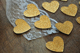 Glitter Gold Heart Confetti 50CT. Ships in 1-3 Business Days. Gold First Birthday Decor.