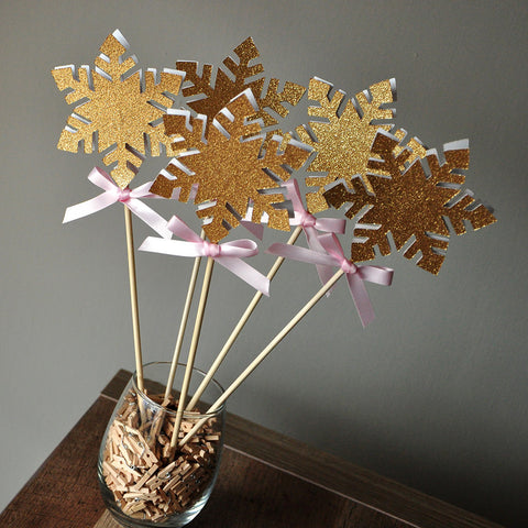 Snowflake Wands in Pink and Gold.  Ships in 1-3 Business Days.  Winter Onederland Party Decorations.