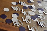 Glitter Silver 40th Birthday Decoration. Ships in 1-3 Business Days. 40 Number Confetti in Silver, Woodgrain and Plum 50CT.