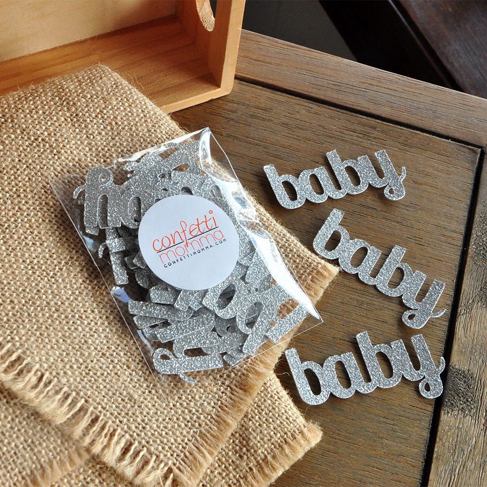 Baby Confetti for Baby Shower Table Decoration in Glitter Silver 25CT.  Handcrafted in 1-3 Business Days.
