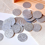 Silver Confetti Circles 1 Inch Pack of 50.  Ships in 1-3 Business Days.  Glitter Confetti Circles.