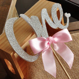 Glitter Silver One Cake Topper. Ships in 2-5 Business Days. 1st Birthday Cake Topper. Pink and Silver Party Decorations.