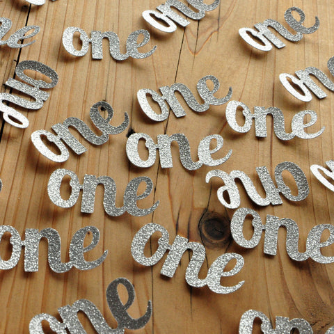 Silver 1st Birthday Party Decor Ideas.  Handcrafted in 1-3 Business Days.   One Confetti.   Number Confetti.  Age Confetti 25CT.