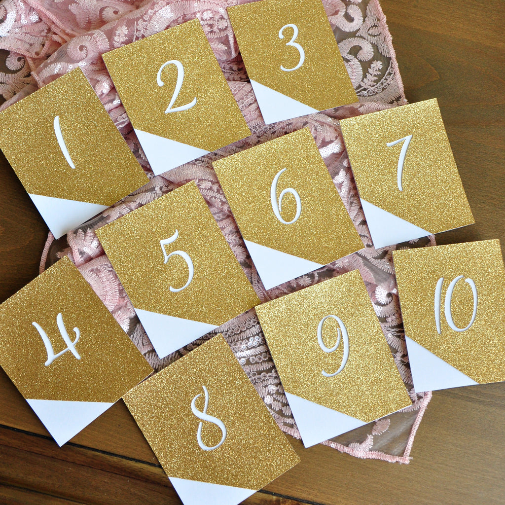 Glitter Table Numbers. Modern Wedding Decor. Hand Crafted in 1-3 Business Days. Reception Table Numbers 1-10.