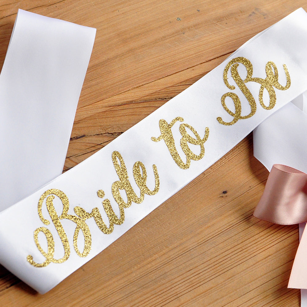 Gold Bride to Be Sash. Bachelorette Party Sash. Bridal Shower Sash.