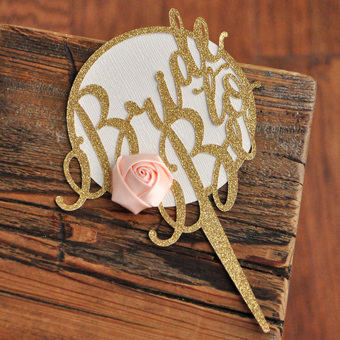 Gold Bridal Shower Cake Topper. Made in 1-3 Business Days. Glitter Gold and Woodgrain Cake Topper with Flower. Spring Bridal Shower Ideas.