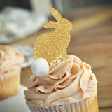 Easter Bunny Cupcake Toppers 12CT. Gold Bunny Cupcake Toppers with White Pom Poms. Bunny Cupcake Picks.