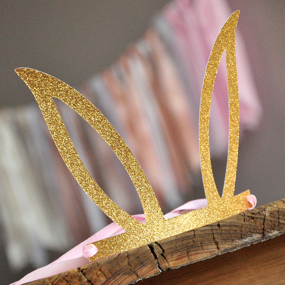 Pink and Gold Some Bunny is One Party Favor Crown. Pink and Gold Bunny Ear Headband. Bunny Party Favors.