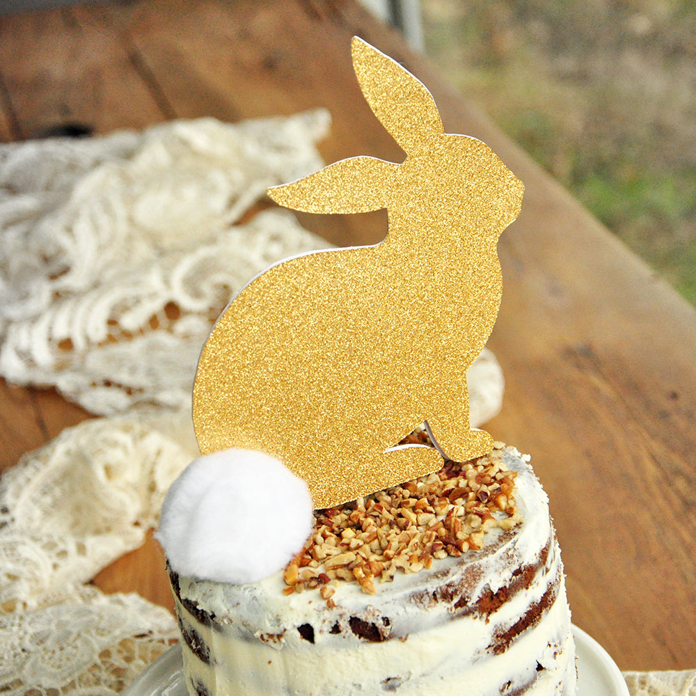 Glitter Gold Bunny Cake Topper. Gold Bunny Topper with White Pom Pom. Bunny Cake Topper Baby Shower.