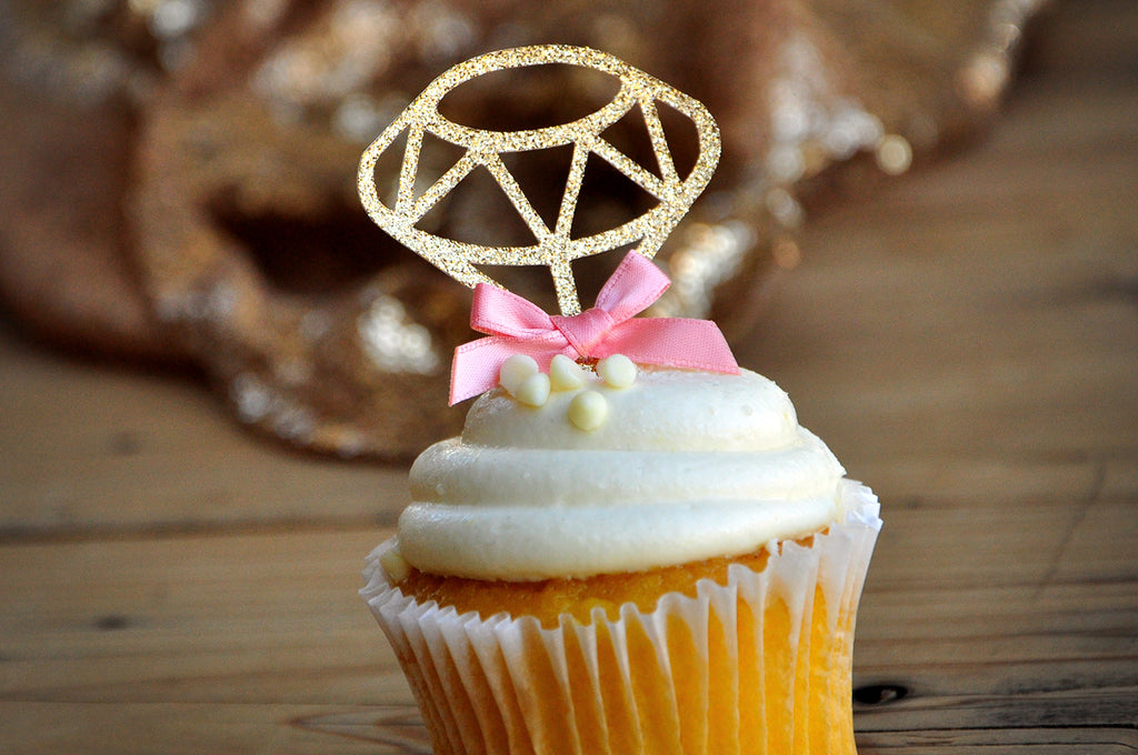 Bridal Brunch Decor. Ships in 1-3 Business Days. Gold Diamond Cupcake Toppers 12CT.