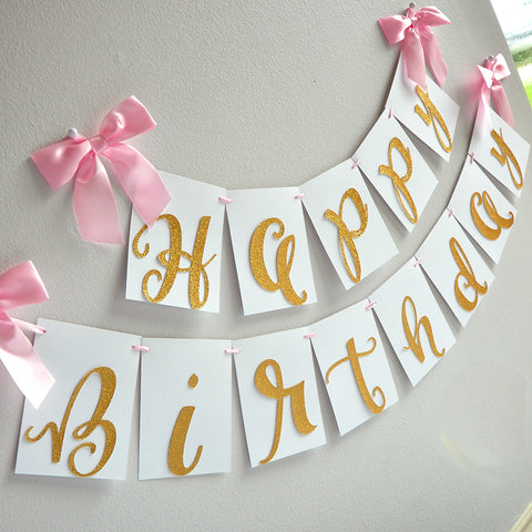 Gold Happy Birthday Banner. Handcrafted in 1-3 Business Days. Pink and Gold First Birthday. Glitter Birthday Banner.