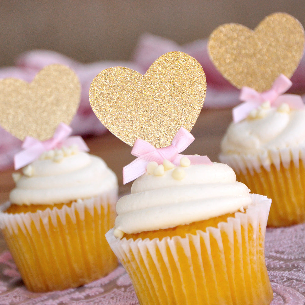 Heart Cupcake Toppers.  Handcrafted in 1-3 Business Days.  Pink and Gold Bridal Shower Decorations 12CT.