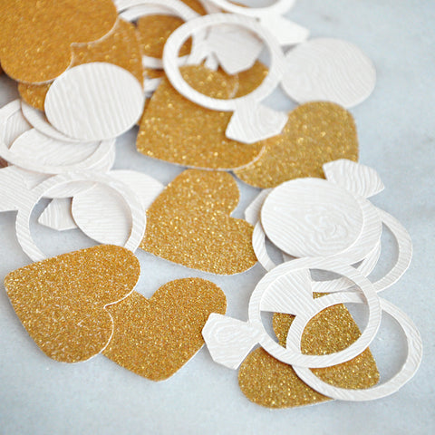 Glitter Gold Heart and Ring Confetti. Made in 1-3 Business Days. Engagement Party Decor Confetti. Bridal Shower Table Confetti.