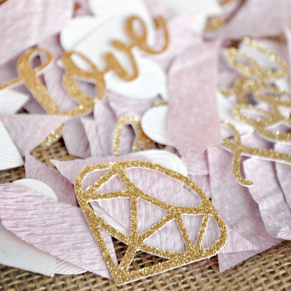 Gold Bridal Shower Table Decor Confetti. Made in 1-3 Business Days. Gold Love and Diamond Confetti with Mauve Crepe. Bridal Shower Decor.
