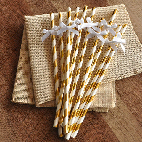 Baptism Decorations. Ships in 1-3 Business Days. Metallic Gold Straws with White Bows 10CT.