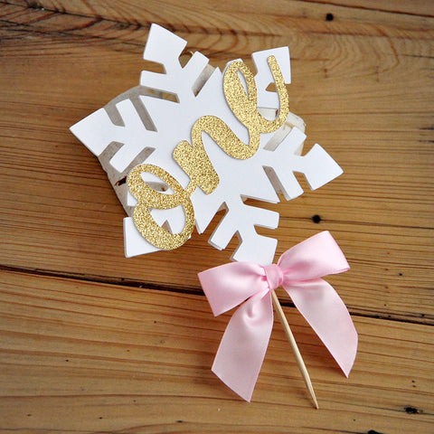 Pink and Gold Winter Onederland Cake Topper. Handcrafted in 1-3 Business Days. Snowflake Cake Decoration. 1st Birthday Decorations.