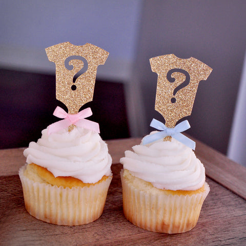 Gender Reveal Party Decor. Ships in 1-3 Business Days. Gold Onesie Question Mark Cupcake Toppers 12CT.