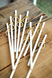 Gold Bridal Shower Supplies (QTY 10). Ships in 1-3 Business Days. Gold Ring and Solid White Paper Party Straws. Diamond Straws.