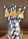 Nautical Baby Shower Party Decorations. Ships in 1-3 Business Days. Sailboat Party Straws 10CT.