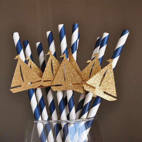 Nautical Baby Shower Party Decorations.  Ships in 1-3 Business Days.  Sailboat Paper Party Straws. 10CT.