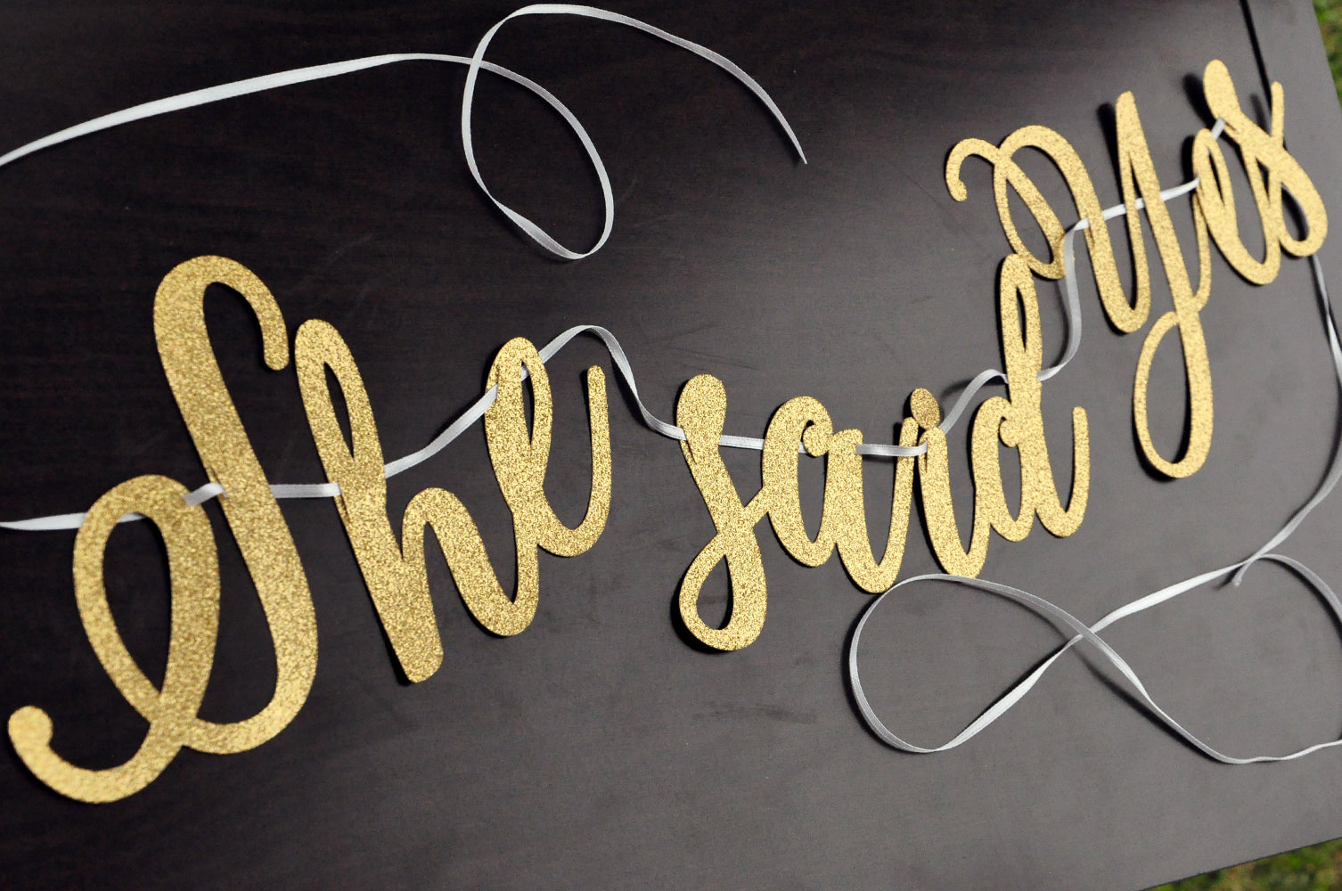 She Said Yes Cursive Gold Glitter Party Banner