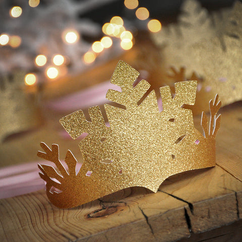 Pink and Gold Winter Wonderland Party Favor Crowns. Made in 1-3 Business Days. Pink and Gold Snowflake Crowns. Winter Onederland Decoration.