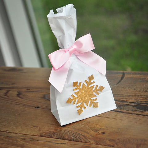 Winter Onederland Favor Bags (10CT). Made in 1-3 Business Days. Mini Snowflake Favor Bags with Bows. Pink and Gold Party Supplies. W36MFB.