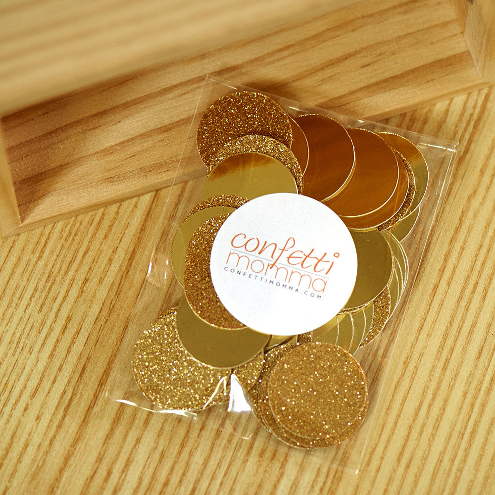 "Gold Table Confetti.  Ships in 1-3 Business Days.  Gold Party Decor.  Wedding Table Decor.  50CT 1"" Gold Circles."