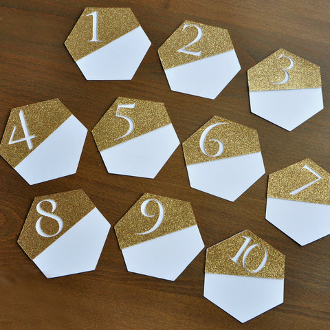 Gold Table Numbers. Hexagon Wedding Decor. Handcrafted in 1-3 Business Days. Gold Table Number Cards 1-10. Modern Table Numbers.