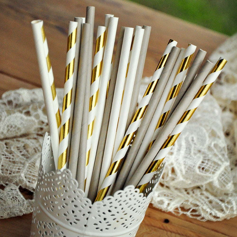 Bridal Shower Supplies 25CT.  Ready in 1-3 Business Days. Paper Straws for Bridal Shower. Gold Foil Striped Straw Mix.