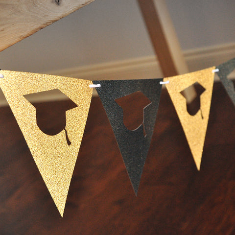 Black and Gold Backdrop Bunting Banner. Made in 1-3 Business Days. Graduation Party Decorations. Individual 6.5 foot strand.