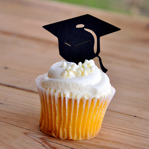 Graduation Cap Cupcake Toppers 12CT. Ships in 1-3 Business Days. Graduation Party Decor.