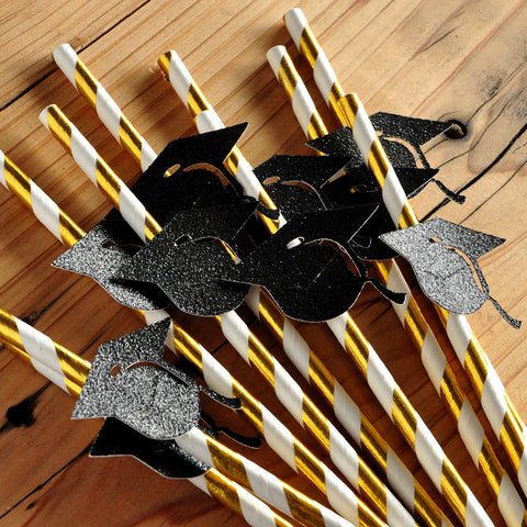 Graduation Party Decor.  Handcrafted in 1-3 Business Days.  Metallic Gold Straws with Glitter Black Caps 10CT.