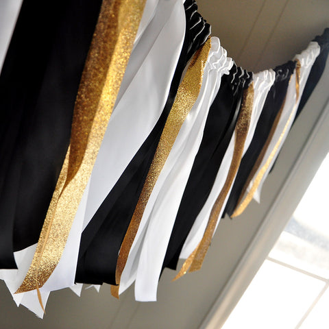 Graduation Party Decorations.  Handcrafted in 1-3 Business Days.  Black, White, and Gold Ribbon Garland.