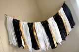Graduation Party Decorations. Made in 1-3 Business Days. Black, White, and Gold Ribbon Garland.