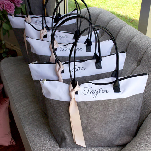 Pre-Order Only. Available early June. Bridesmaid Tote. Personalized Bridesmaid Gift Bags. Custom Name Bag. Zipper Tote. GRTBlH.