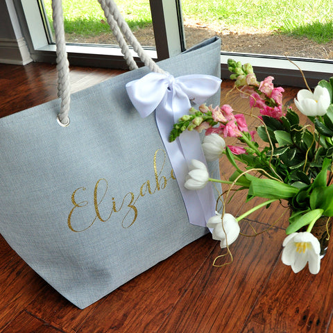 Pre-Order ONLY. Available March 2019. Bridesmaid Beach Bag (Quantity: 1).  Personalize Beach Tote Bag. Bridesmaid Gift Ideas. Wedding Party Gift. G22BT.