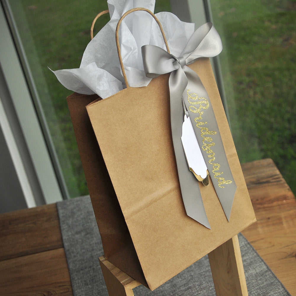 Bridesmaid Paper Gift Bags (Qty. 1). Bridal Party Gift Bags. Kraft Bags with Handles. Bridesmaid Gift Ideas. Br8KFT.