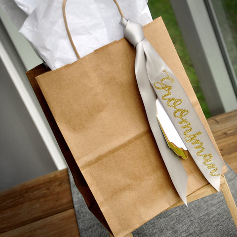 Gift Bags for Groomsmen (Qty. 1).  Kraft Bags with Handle. Groomsman Gift Ideas. Groomsman Gift Ideas. Br8KFT.