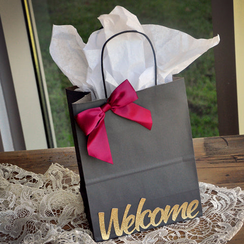 Welcome Gift Bags for Wedding (Qty 1).  Large Grey Paper Bags with Handle. Gift Bags for Guest.