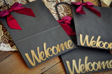 Welcome Gift Bags for Wedding (Qty 1).  Large Grey Paper Bags with Handle. Gift Bags for Guest. G8KFT.